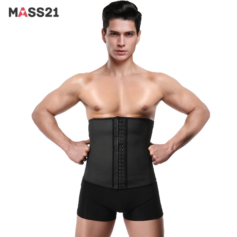 MASS21 Men's Fashion Latex Corset Control Tummy Sport Shapewear Body Slimming High Waist Trainer For Men