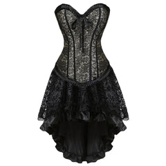 Autumn Lady Gothic Bandage Lace Sleeveless Evening Party Corset Dress Women Shapewear Spandex Vintage  Cosplay Costume Dress