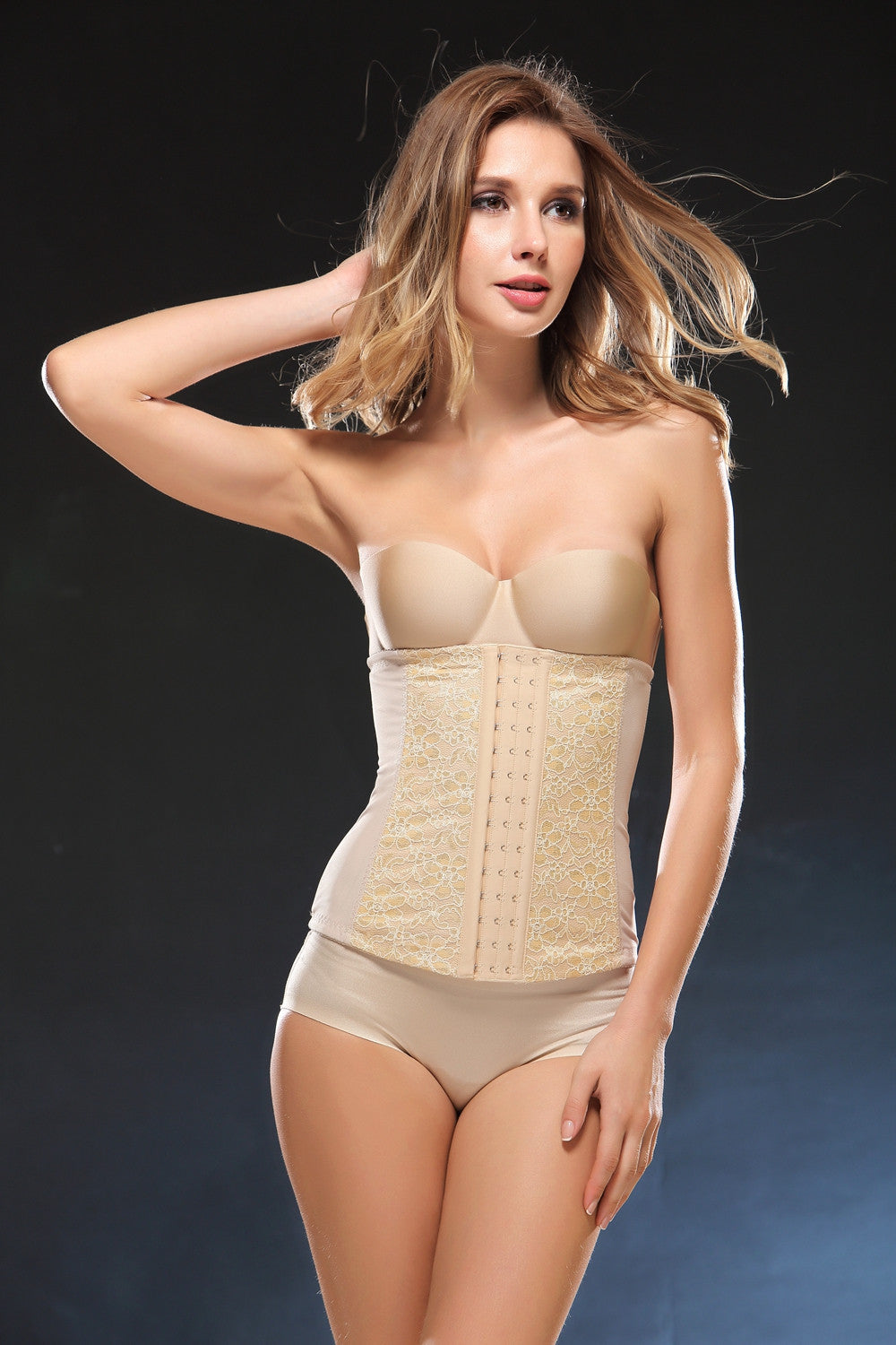 Women's Lace Super Thin Underbust Corset Waist Trainer Cincher Body Shaper Shapewear