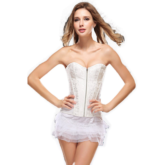 Women's Long Lace Underbust Corset Waist Trainer Cincher Body Shaper Shapewear
