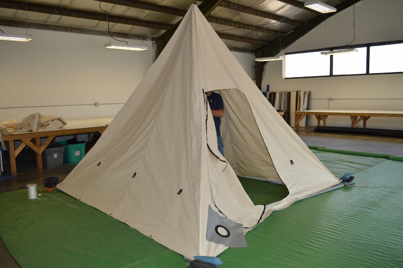 Custom Range Tent / Pyramid Tent Being Inspected on Shop Floor