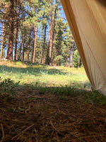 view from inside of canvas tent