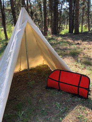 tent with orange bow case