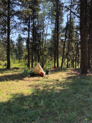 archery camp with a lightweight tent
