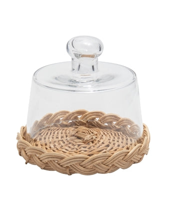 Cloche and Rattan Tray - Two Sizes