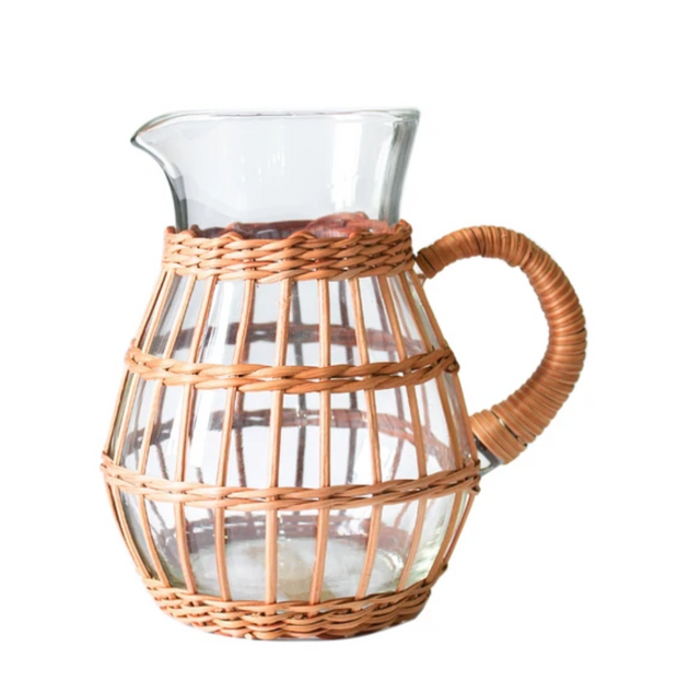 Rattan Cage Tall Pitcher