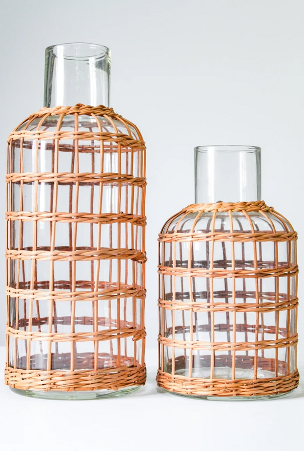 Rattan Cage Carafe or Vase, Two Sizes