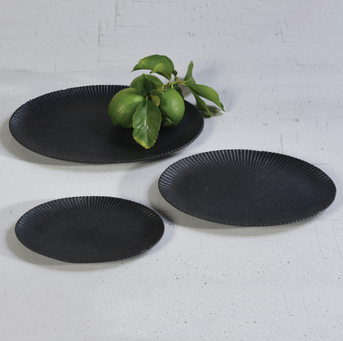 Philomena Ribbed Oval Tray, Three Sizes