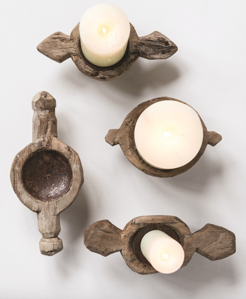 Makira Found Wood Candle Stands