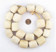 White Bone Barrel Beads