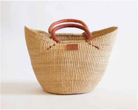 Woven Market Basket with Leather Handles