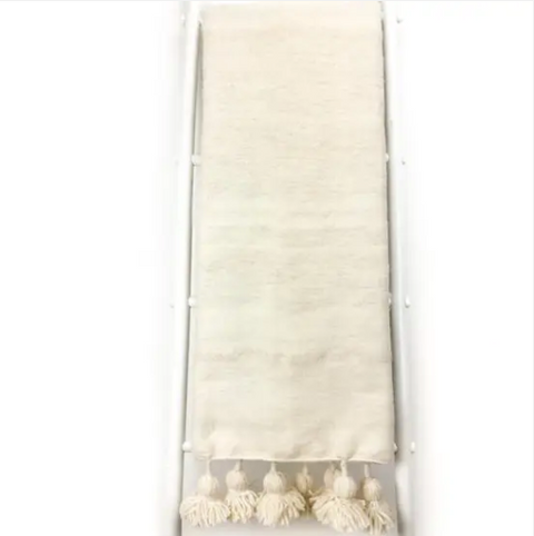 Cream Moroccan Tassel Throw Blanket