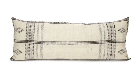 Ivory Handmade Indian Wool Long Lumbar Pillow