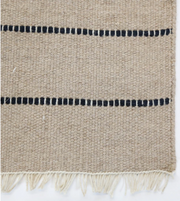 Natural and Black Striped Flat Weave Rug - Two Sizes