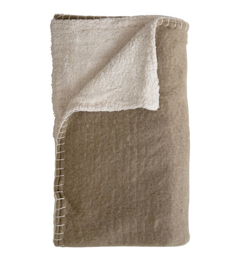Woven Sherpa Throw Blanket, 2 Colors