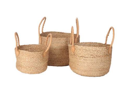 Jute Ashulia Basket with Handles, 3 Sizes