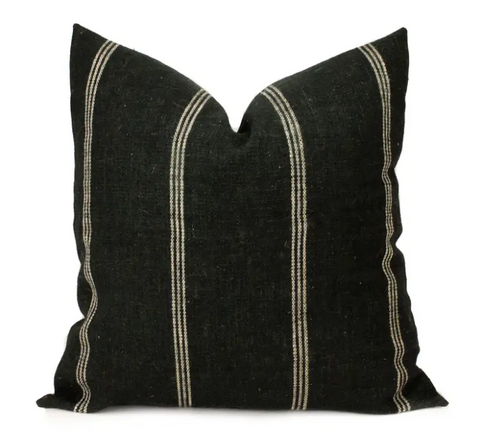 Striped Black Indian Wool Pillow