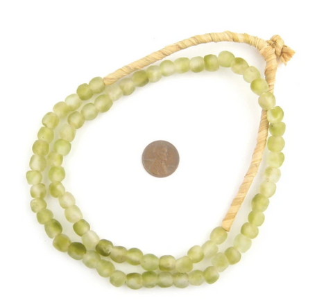 Olive Mist Recycled Glass Beads