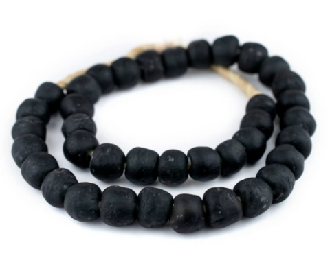 Black Recycled Glass Beads