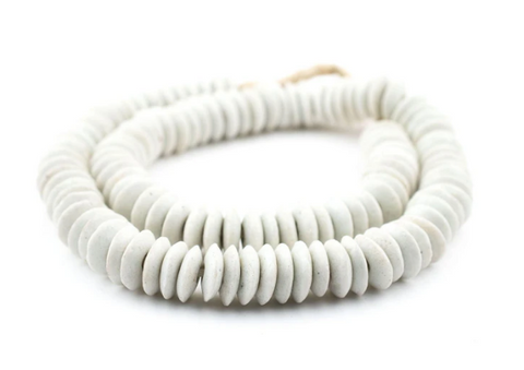 White Saucer Glass Beads