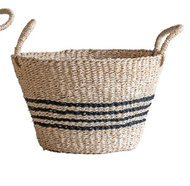 Woven Palm & Seagrass Striped Baskets, 2 Sizes