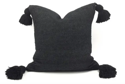 Black Handmade Tassel Pillow, SM