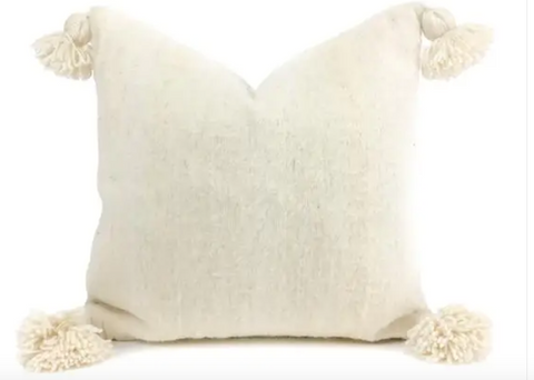 Cream Handmade Tassel Pillow, sm