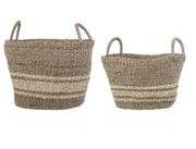 Natural Seagrass & Palm Striped Basket
