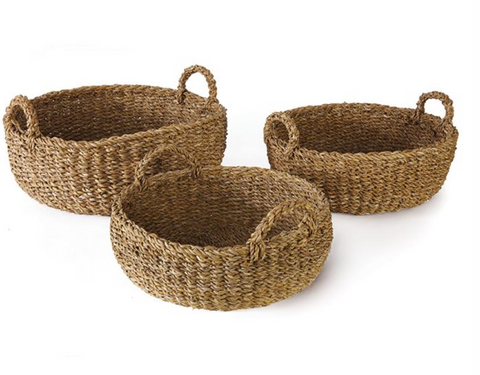 Shallow Seagrass Basket w/ Handles