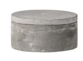 Callie Cement Dish With Lid, 2 Sizes