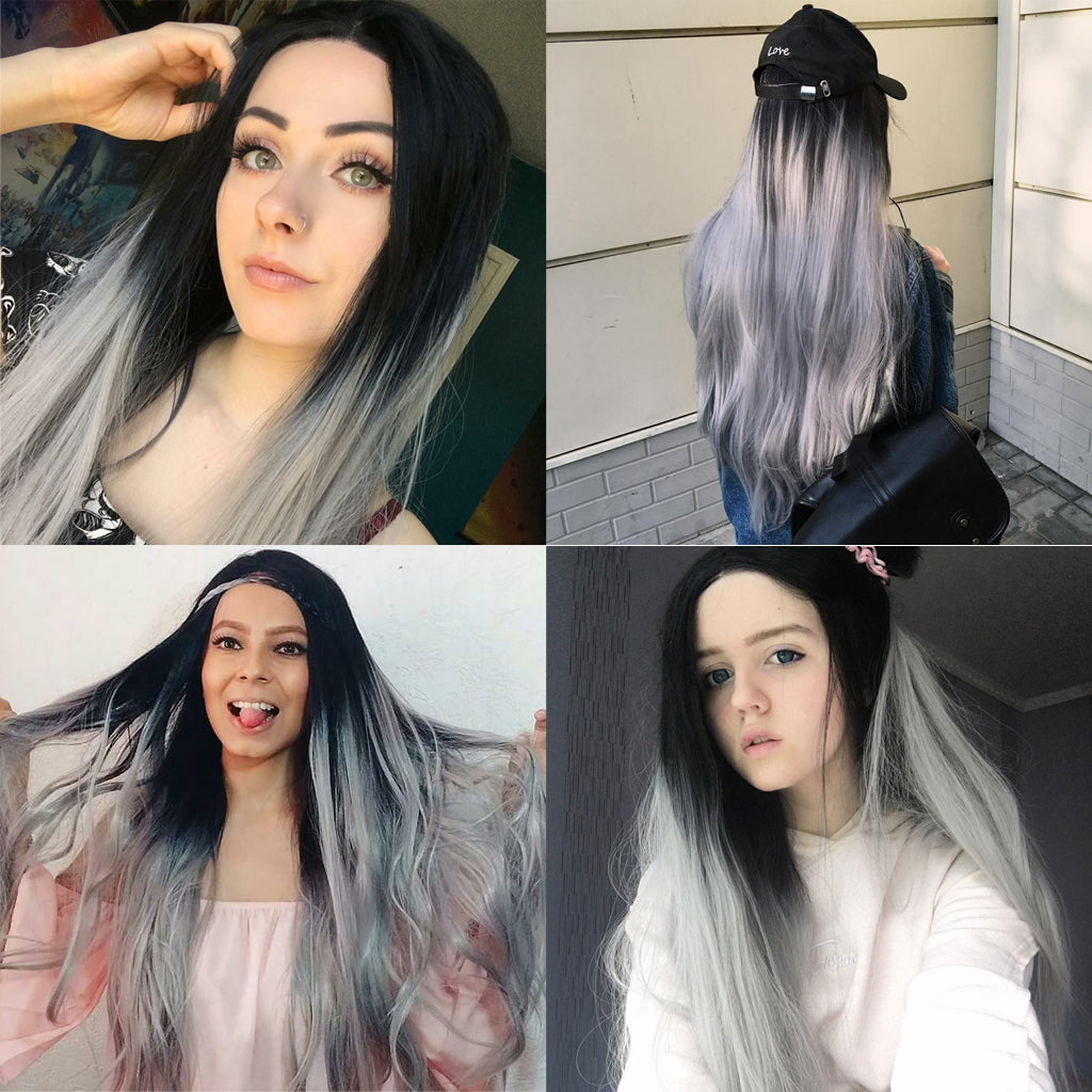 Ombre Gray Synthetic Lace Front Wig HS0003 Tutorial Video