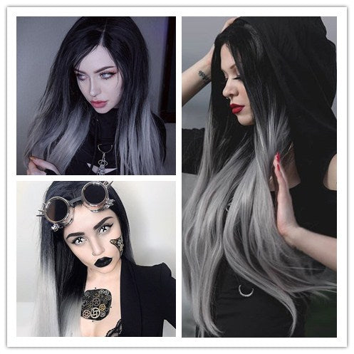 Heahair Ombre Gray Synthetic Lace Front Wig HS0003 Quick Show
