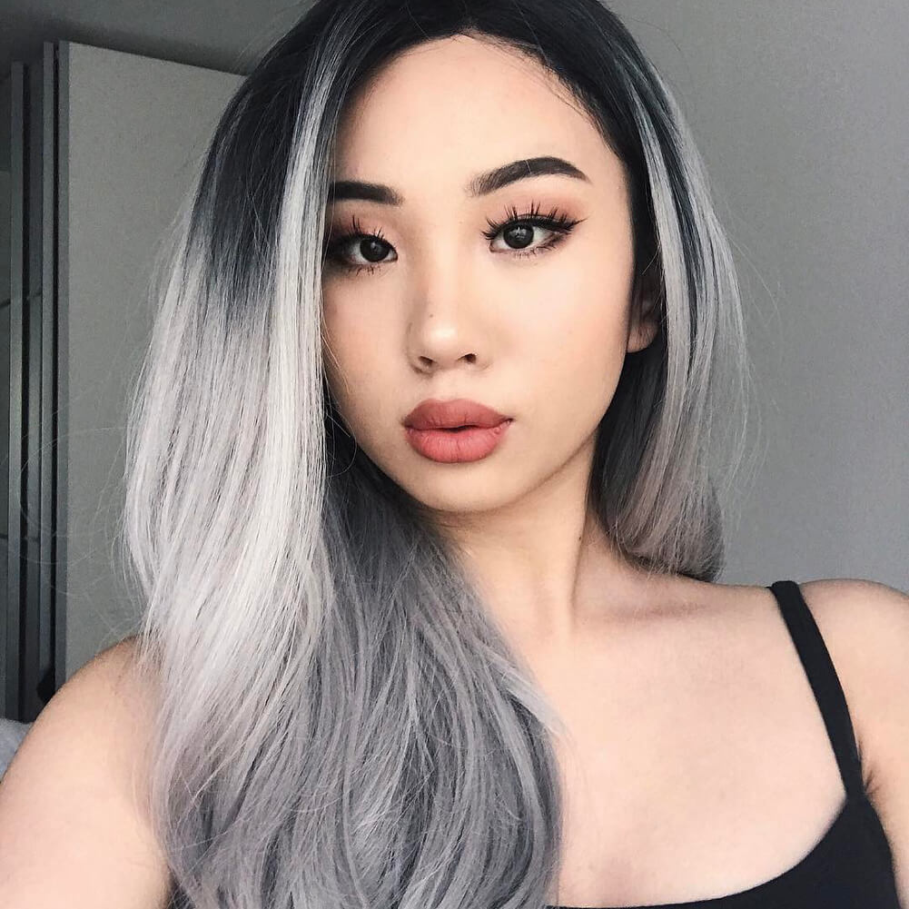 HEAHAIR Ombre Gray Synthetic Lace Front Wig