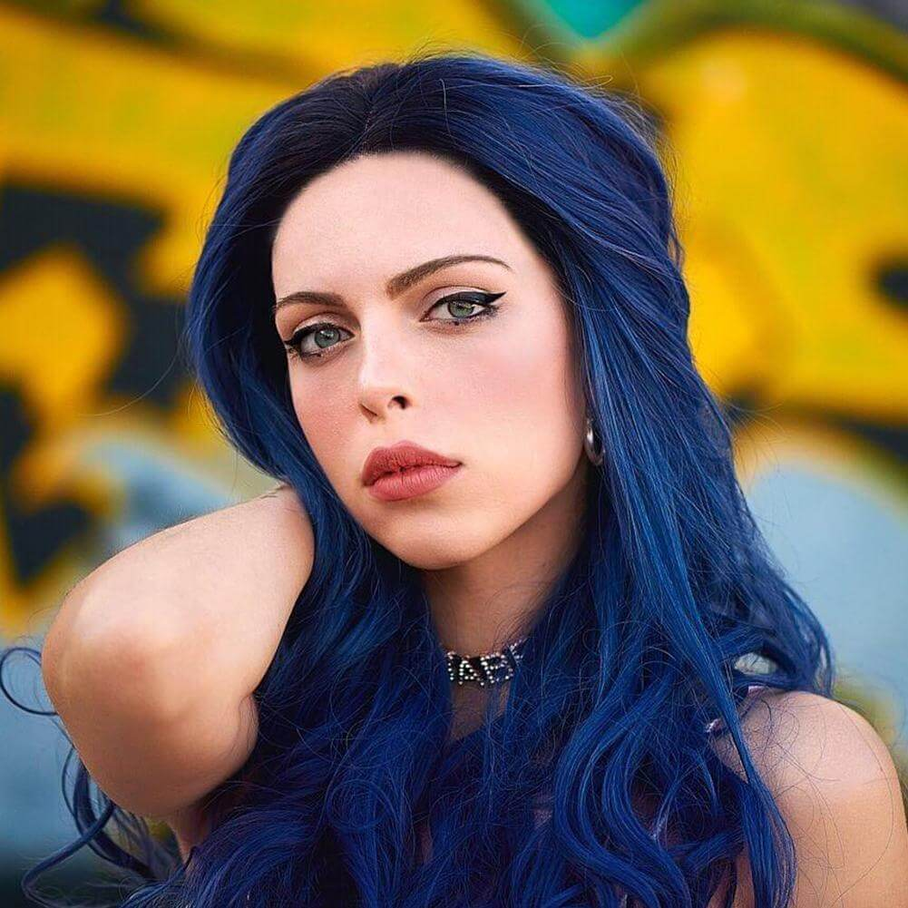 Ombre Blue Synthetic Lace Front Wig