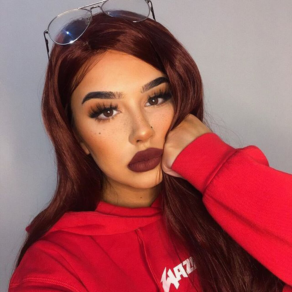 HEAHAIR Reddish Brown Synthetic Lace Front Wig