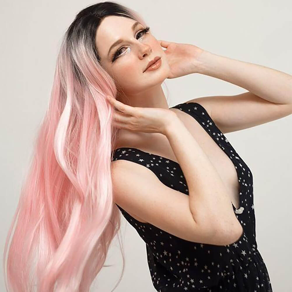 HEAHAIR Ombre Pink Synthetic Lace Front Wig
