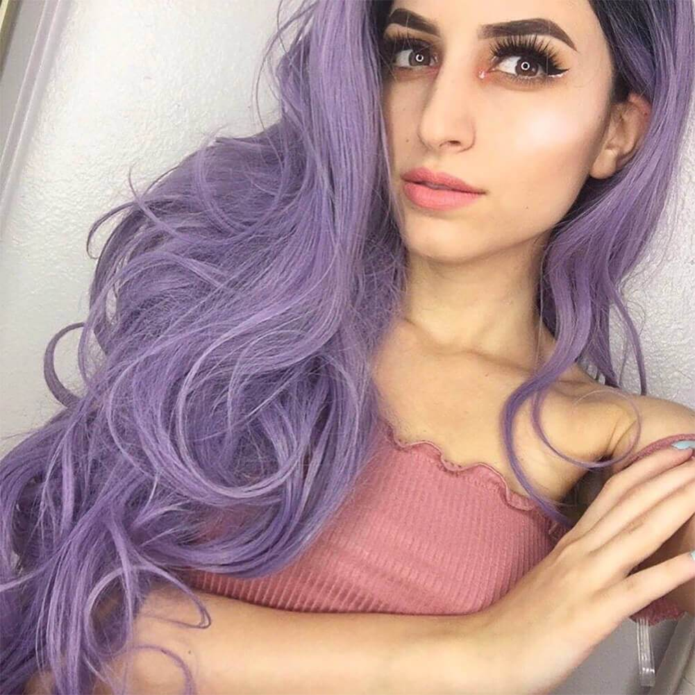 HEAHAIR Ombre Purple Wavy Synthetic Lace Front Wigs