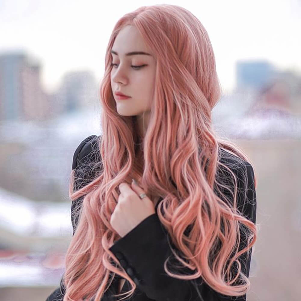 HEAHAIR Peach Pink Synthetic Lace Front Wig