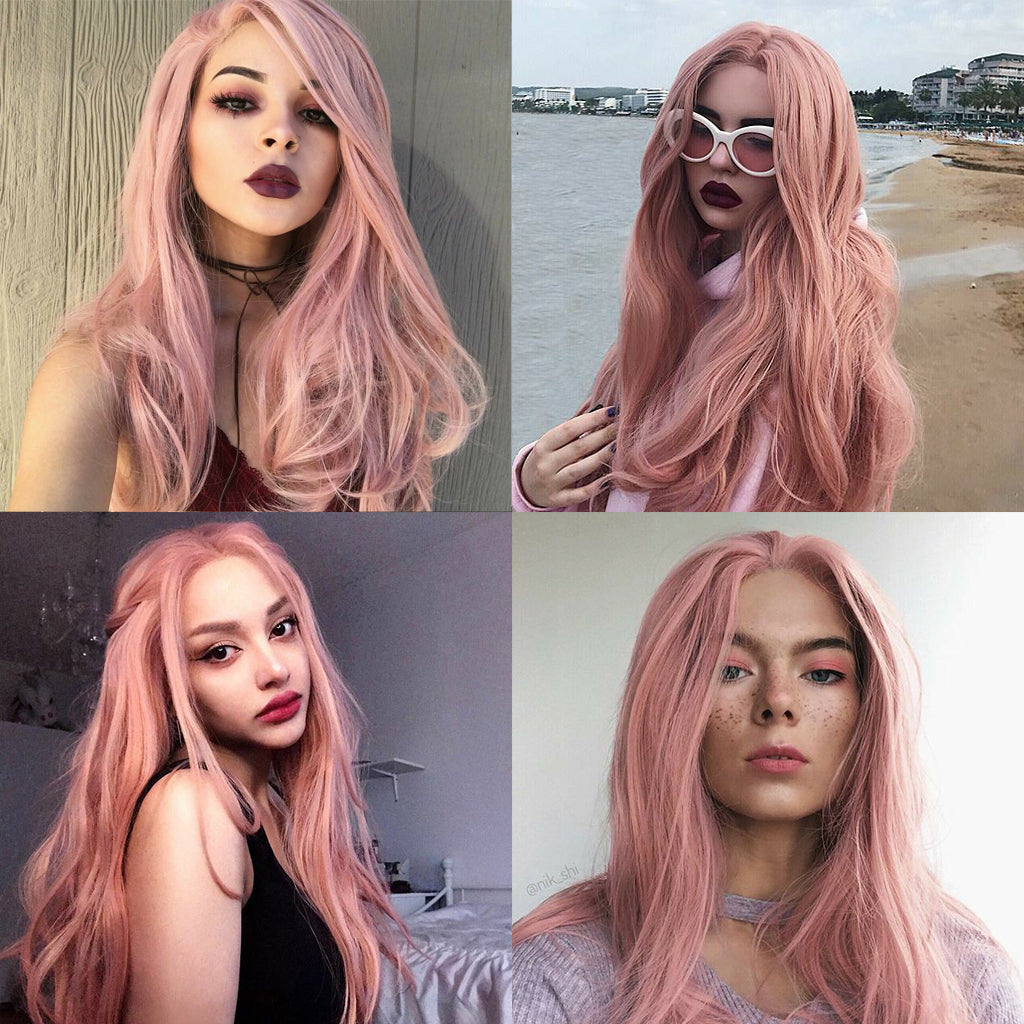 Peach Pink Synthetic Lace Front Wig HS2023 Video Show