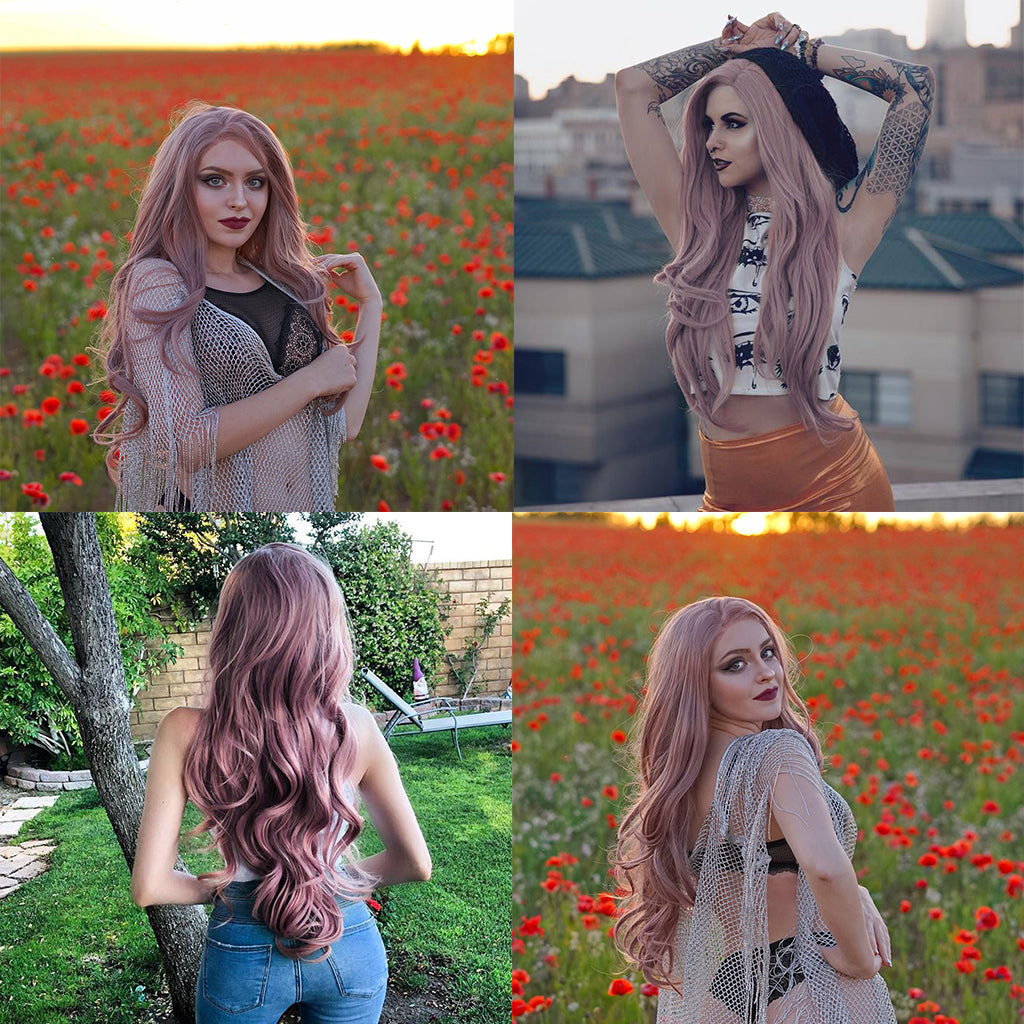 New Arrival Dusty Pink Synthetic Lace Front Wig HS6002 Star Show