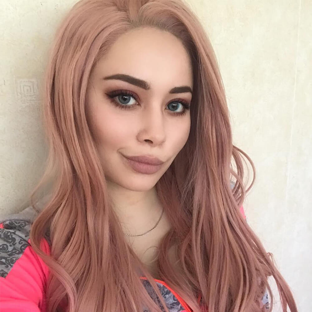 Peach Pink Synthetic Lace Front Wig