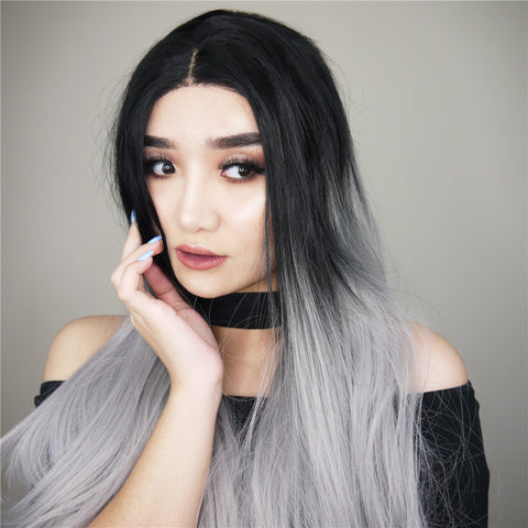 Ombre Gray Synthetic Lace Front Wig HS0003