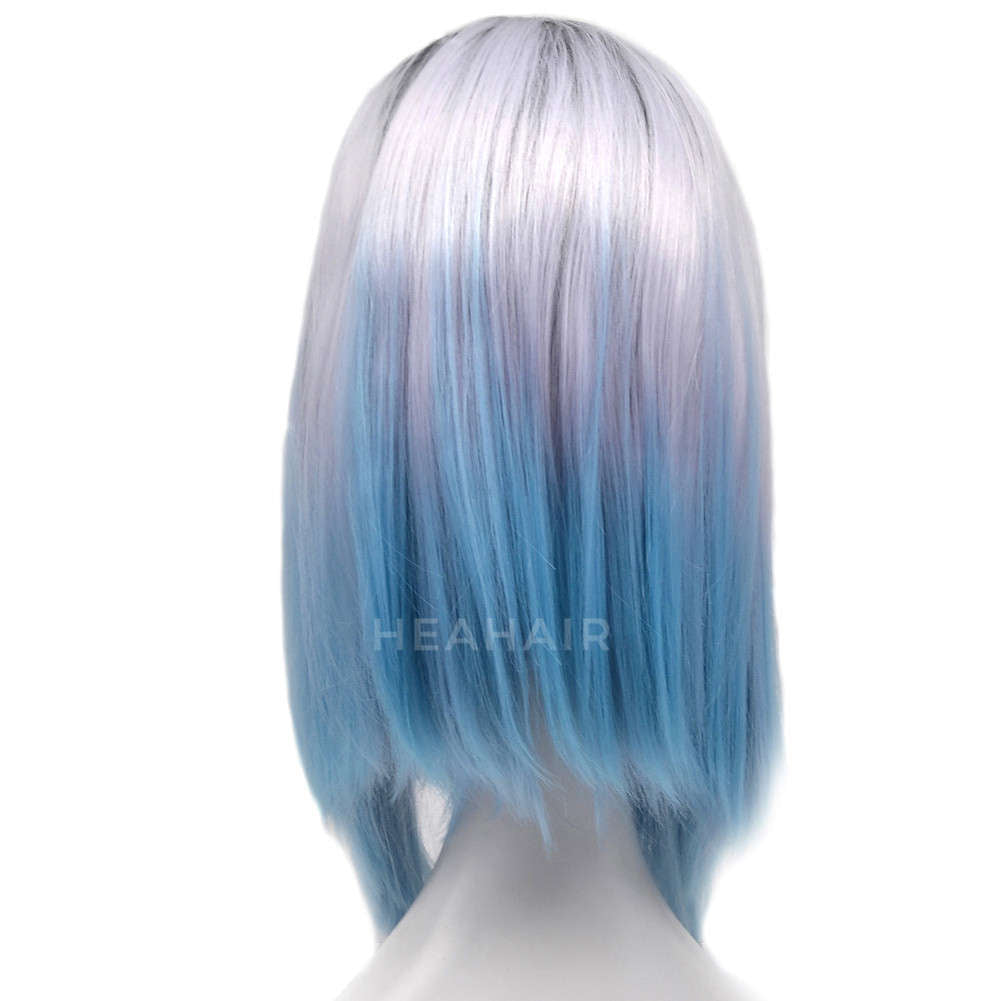 Ombre Blue Bob Synthetic Lace Front Wig HS0007