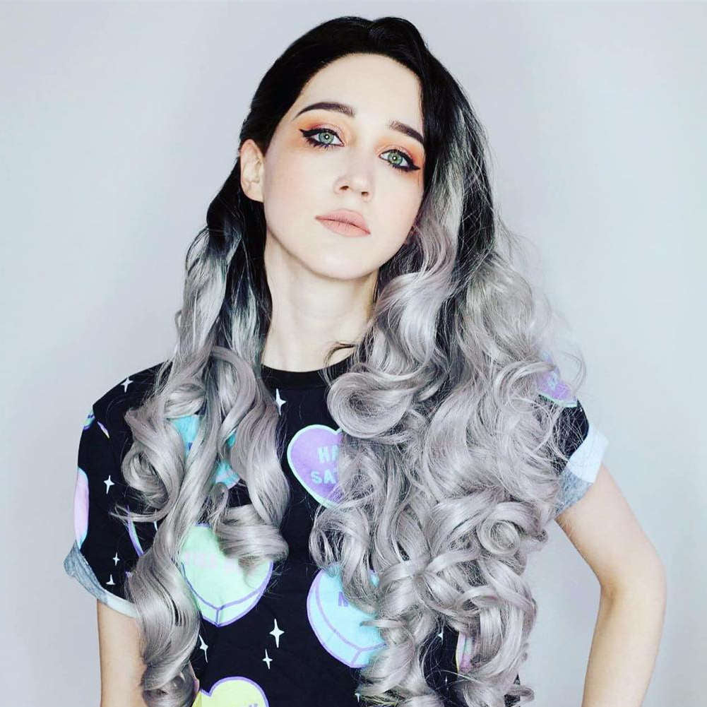 Ombre Gray Synthetic Lace Front Wig HS0010