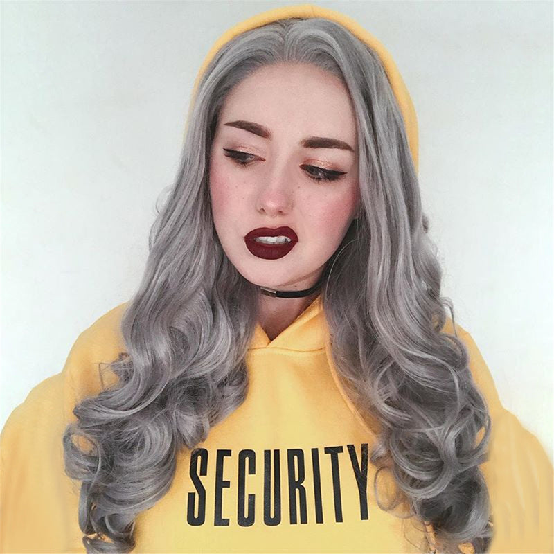 Gray Synthetic Lace Front Wig HS0011