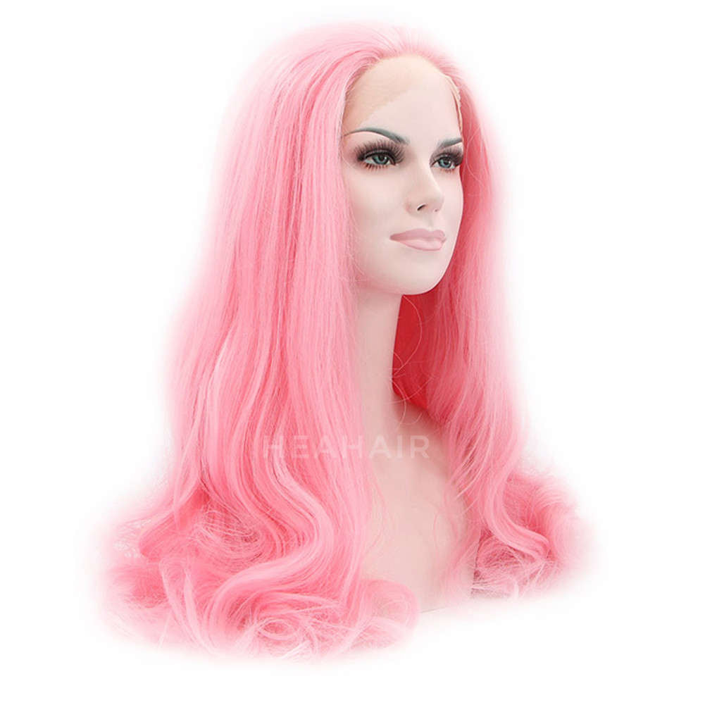 Pink Synthetic Lace Front Wig HS0012