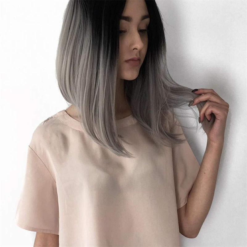 Ombre Gray Bob Synthetic Lace front Wig HS0014
