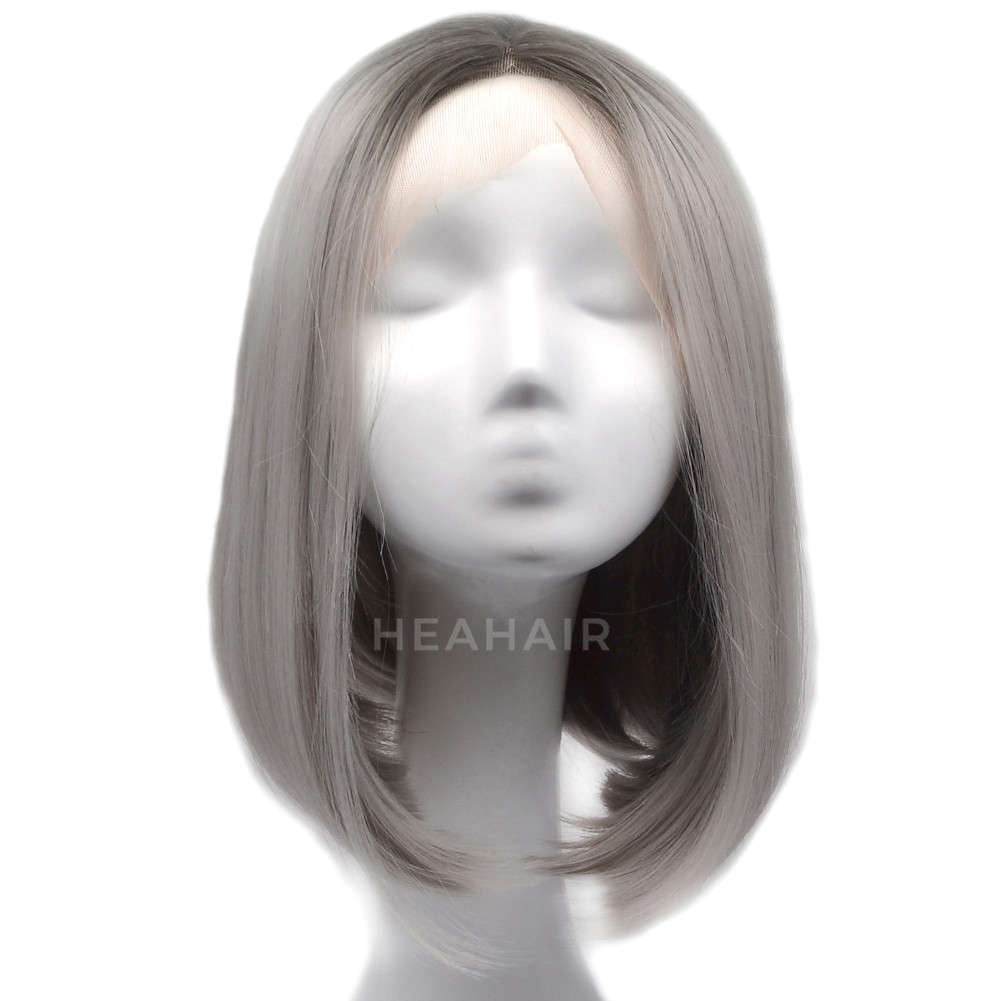 Ombre Gray Bob Synthetic Lace Front Wig HS0019