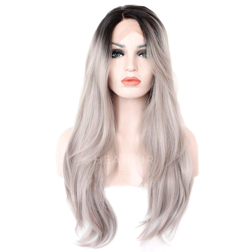 Ombre Gray Synthetic Lace Front Wig HS0021