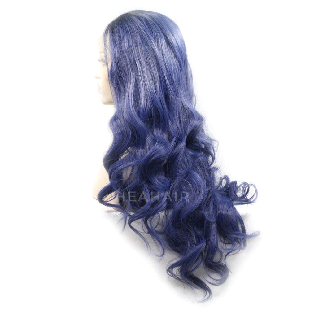 Ombre Blue Synthetic Lace Front Wig HS0024